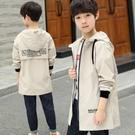 男童外套 男童外套新款春秋裝連帽中大童夾克兒童長款風衣韓版小孩上衣 檸檬衣舍
