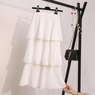 超仙層層蛋糕裙半身裙女秋春夏韓版雪紡白色學生新款百摺中長裙