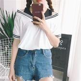 短袖T恤女學生夏裝2018新款露肩韓版寬鬆bf短款百搭假兩件上衣