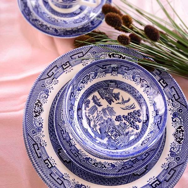 英國CHURCHiLL-Blue willow柳樹系列-三件餐盤組