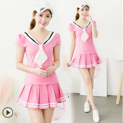 兩件式褲裝大尺碼運動套裝女夏2019短裙學生跑步時尚韓版網球服褲裙兩件套 PA2547『pink領袖衣社』