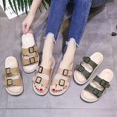 夏新款女涼拖防滑軟底拖鞋外穿百搭平跟女涼拖正韓沙灘皮扣帶涼鞋 三色36-40