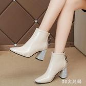 粗跟短靴女秋冬新款小跟時尚氣質英倫百搭女士踝鞋馬丁靴 XN4879『MG大尺碼』