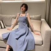 一字领洋装 法式霧霾藍吊帶收腰長洋裝腳踝仙氣森系韓版一字肩洋裝女裝夏