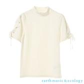 「Hot item」繫帶手袖設計羅紋高領上衣 - earth music&ecology
