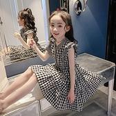 女童夏裝洋裝2021新款韓版蛋糕裙中大童兒童夏季洋氣背心格子裙 幸福第一站