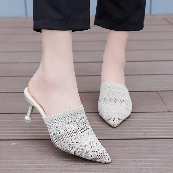 快速出貨 拖鞋女外穿 夏季 尖頭針織面細跟百搭高跟鞋中跟一字拖