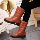 皮面雪地靴女鞋冬季加絨加厚棉鞋女冬2019新款防滑保暖中筒靴防水