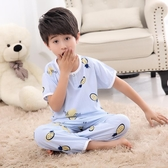 棉睡衣男孩兒童男童綿套裝秋冬小孩薄款中大童短袖寶寶家居服【免運】