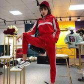 加絨運動套裝 女秋冬寬鬆連帽絲絨衛衣休閒褲子兩件式 糖果時尚