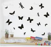 壁貼【橘果設計】蝴蝶與蜻蜓 DIY組合壁貼/牆貼/壁紙/客廳臥室浴室幼稚園室內設計裝潢