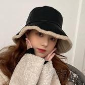 羊羔絨黑色pu皮質漁夫帽女秋冬韓版百搭日系保暖時尚帽子盆帽潮 雙十二全館免運