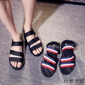 涼拖 情侶時尚外穿涼鞋男潮流韓版男士兩用沙灘鞋休閒(2色/35-44)