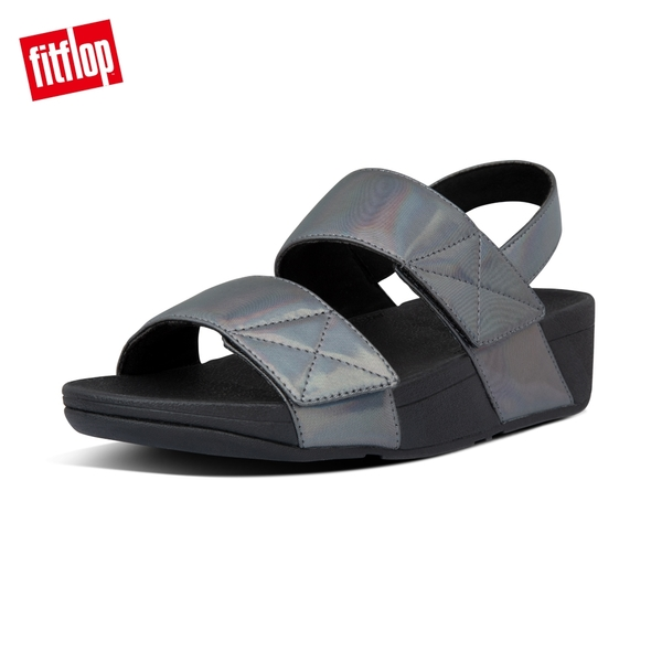 新降66折【FitFlop】MINA IRIDESCENT BACK-STRAP SANDALS 金屬光澤可調式後帶涼鞋-女(靚黑色)