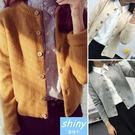 【V4471】shiny藍格子-冬令暖氛‧時尚針織毛線長袖短款外套