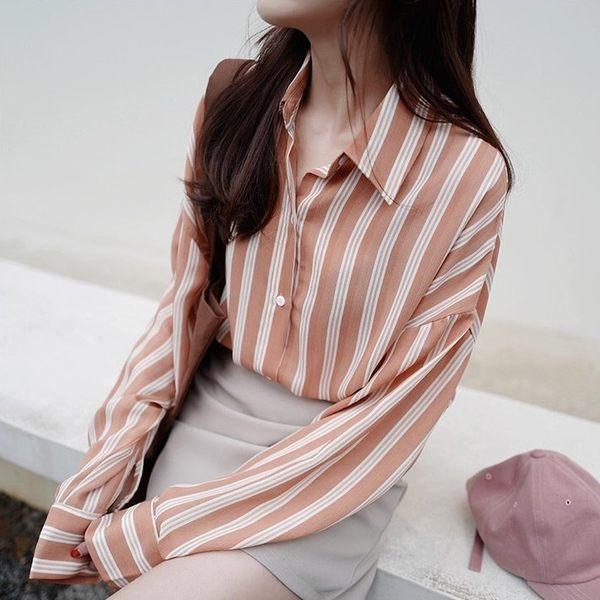 ZUCAS~(GU-1799)條紋寬鬆韓國上衣休閒長袖襯衫