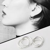 耳環 純銀耳環新款潮男女小圓圈耳圈設計感耳釘高級感耳飾品 城市科技