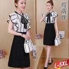 線條荷葉造型繫帶包臀洋裝 L~5XL【7...