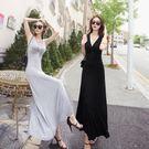 性感洋裝  正韓大擺裙長裙V領小黑裙背心連身裙拖地裙  格林世家