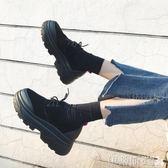 松糕單鞋2018夏季新款原宿小皮鞋韓版百搭學生女鞋厚底鬆糕單鞋女 伊蒂斯女裝