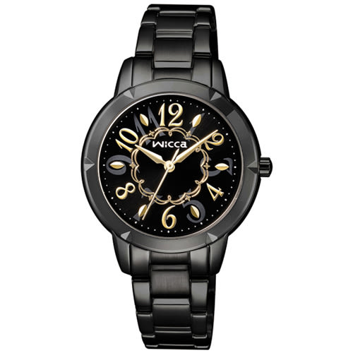 WICCA 愛莉絲夢遊仙境 時尚腕錶-黑X金