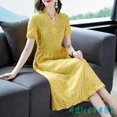 棉麻連身裙洋裝 裙子女夏季2020新款法式短袖純色氣質收腰顯瘦過膝長裙 OO12002『科炫3C』