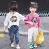 女童T恤純棉長袖新品 裝洋氣兒童圓領打底衫夏季寶寶上衣 3歲 88折下殺