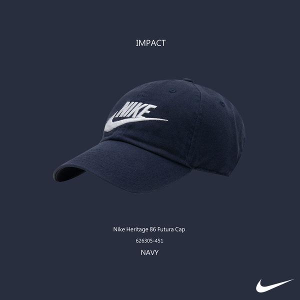 IMPACT Nike Heritage 86 Futura Cap 深藍 老帽 電繡 銀扣 棒球帽 灣沿帽 情侶 男女可戴 鐵扣 626305-451