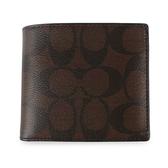 COACH經典LOGO PVC皮革多卡短夾(附可拆式證件夾)(咖啡色)196152-2