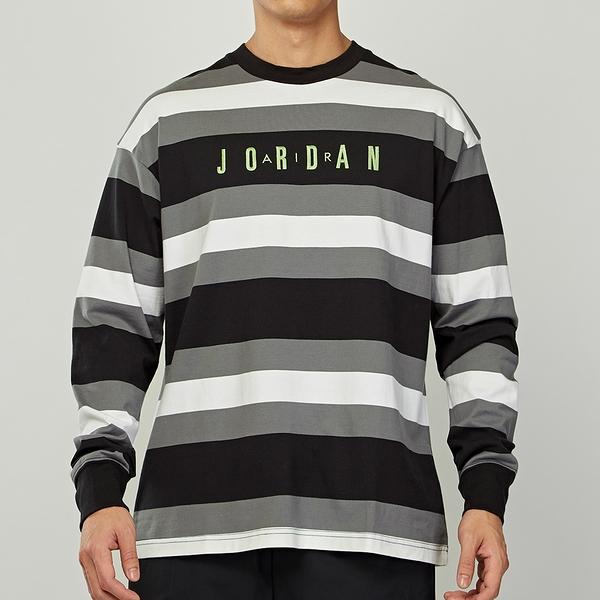 Nike MJ Sprt DNA HBR Striped Top 男款 黑白灰 條紋 圓領 長袖 CV1143-010