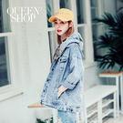 Queen Shop【02050214】配色車線拼接連帽牛仔外套*預購*