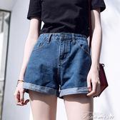 牛仔a字高腰港味復古chic短褲新款韓版學生寬鬆顯瘦闊腿熱褲  提拉米蘇