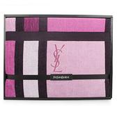 YSL經典LOGO幾何色塊純棉毛毯禮盒(桃紅色)989208-69
