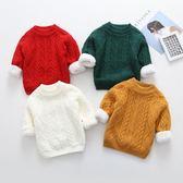 男女童毛衣秋冬兒童加絨加厚圓領線衣寶寶純棉套頭打底針織衫外套
