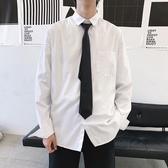 白色長袖領帶襯衫男情侶套裝寬鬆短袖襯衣潮流韓版學院風襯衫上衣