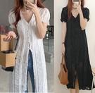 現貨 V領蕾絲緹花洋裝連身裙韓國chic 【37-16-8332-20】ibella 艾貝拉