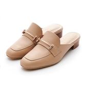 MICHELLE PARK 格調 ‧ 方頭金屬條飾低跟穆勒鞋-卡其