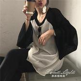 中長款上衣秋季女裝韓版百搭撞色薄款長袖T恤針織衫寬鬆顯瘦中長款休閒上衣 果果輕時尚