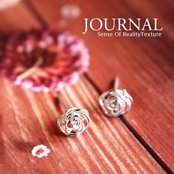 925純銀 縷空線圈 玫瑰 針式耳環_質物日誌Journal