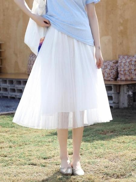 紗裙網紗裙子女半身裙中長款春夏新款百褶長裙顯瘦高腰仙女裙 【全館免運】