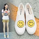 帆布鞋  韓版厚底休閒笑臉小白鞋