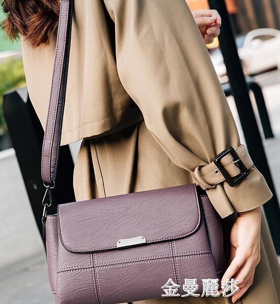 中年女包媽媽包新款軟皮小包包女士時尚簡約大容量單肩側背包 雙十二全館免運