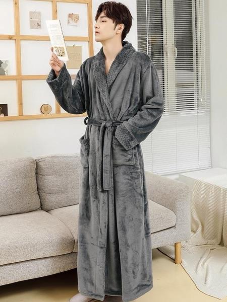 睡袍睡衣男秋冬法蘭絨加厚加長款珊瑚絨睡袍冬季加絨保暖浴衣男士浴袍 優拓