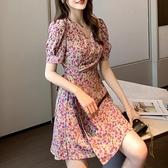 洋裝 小碎花一片式連身裙女2020年夏季新款收腰顯瘦小個子雪紡短裙女裝 korea嚴選
