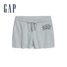 Gap女裝 Logo舒適鬆緊休閒短褲 589675-亮麻灰色