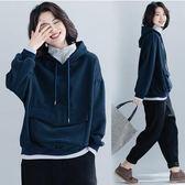 衛衣【R47】FEELNET中大尺碼女裝冬裝百搭加絨加厚假兩件衛衣 均碼