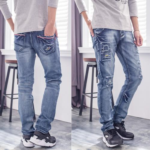 徽章造型湛藍牛仔褲