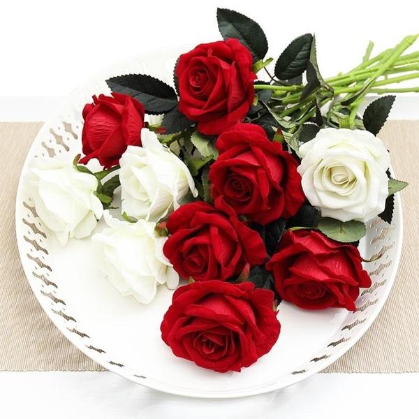 仿真玫瑰花單支假玫瑰花客廳裝飾花絨布紅玫瑰仿真花束絹花假花 ciyo黛雅