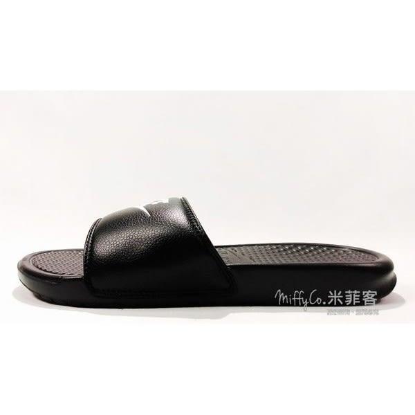 NIKE 米菲客 Benassi JDI 343880 090 黑底白字 輕量 舒適 拖鞋 夏天必備