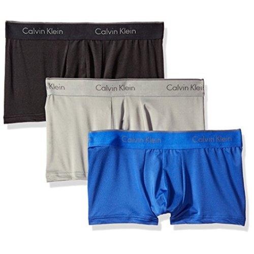 CK-時尚3件組超細纖維拉伸四角內著(黑/灰/藍色)